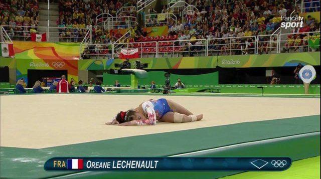 Oréane léchenault au sol aux jeux olympiques de Rio